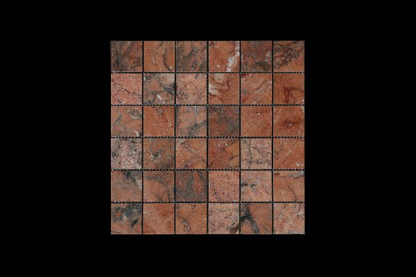 Mega Red Mosaic 4.8 x 4.8 DK010 POLISHED