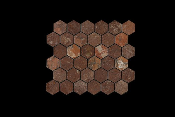 Red Marble Hexagonal Mosaic DK003 ACID
