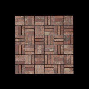 Rosso Chocolate Block Mosaic DK048 Honed