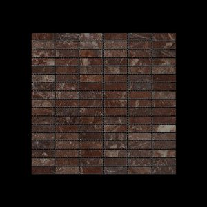 Rosso Chocolate  Dark - Nimbus  Small Linear Mosaic DK 598 POLISHED