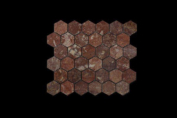 Rosso Chocolate Hexagonal Mosaic DK003 POLISHED