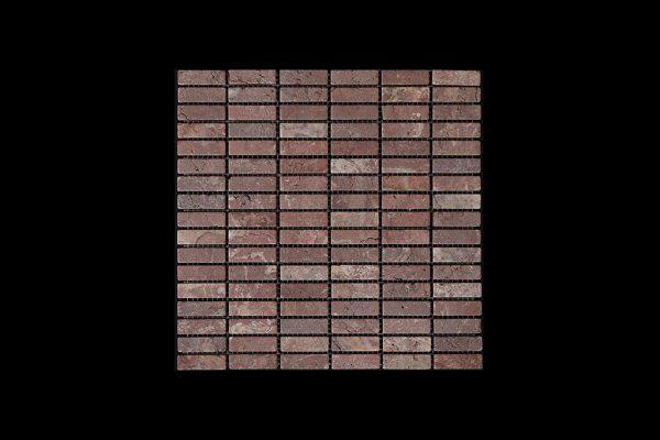 Rosso Chocolate Nimbus - Small Linear Mosaic DK598 TUMBLED