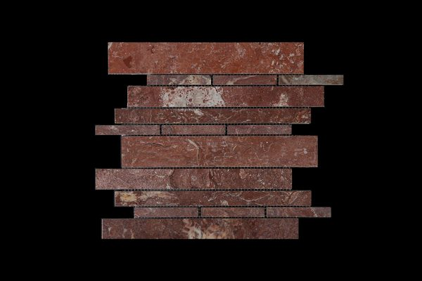 Rosso Chocolate Offset Linear Mosaic DK109 POLISHED