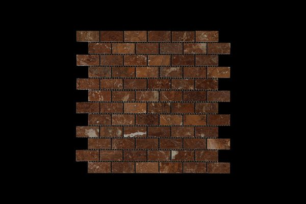 Rosso Chocolate Small Brick Mosaic DK007 POLISHED