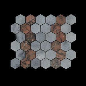 White C & Mega R  - Hexagonal Mosaic DK003 Honed
