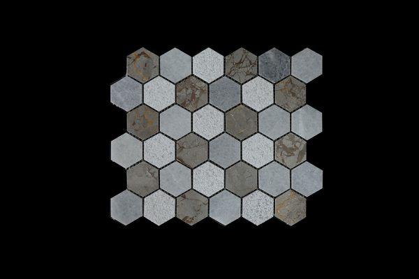 White C & imperial Grey Hexagonal -Dk003 P