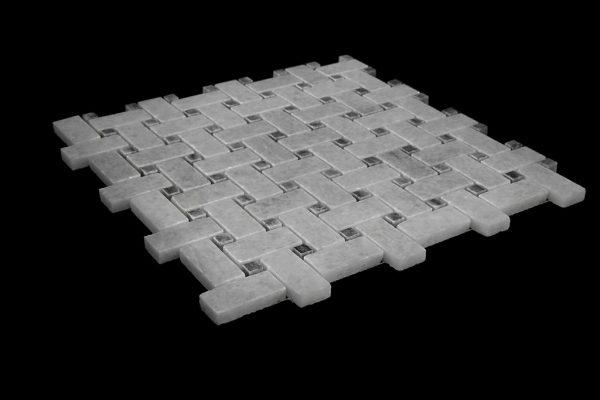 White Crystalline Basket Weave Mosaic DK021 - miring