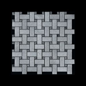 White Crystalline Basket Weave dot Grey Mosaic DK021 Polished