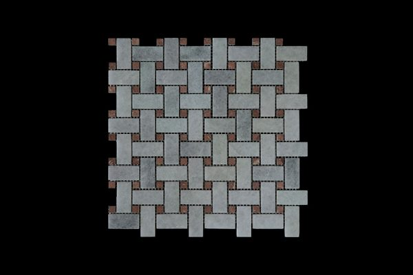 White Crystalline Basket Weave dot Red Marble Mosaic DK021 Honed