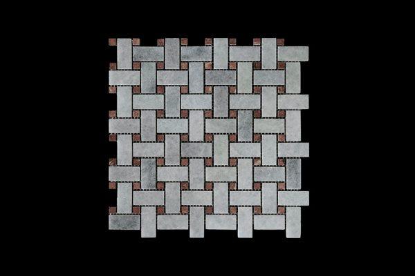 White Crystalline Basket Weave dot Red Marble Mosaic DK021 Polished