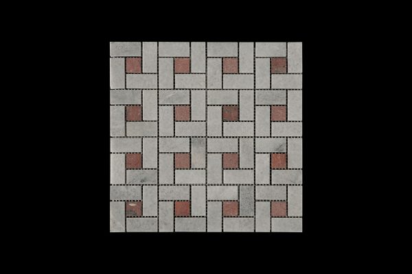 White Crystalline Block Weave Mosaic DK 006 Dot Red Marble