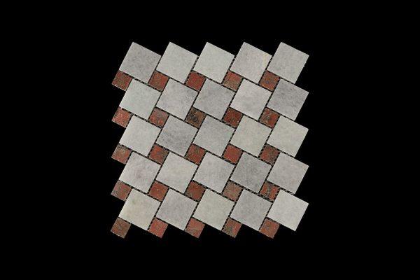 White Crystalline Mosaic DK 013 Dot Mega Red Comb. Ploshed + Honed