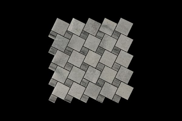 White Crystalline Mosaic DK013 Dot Abu Comb. Polished + Honed