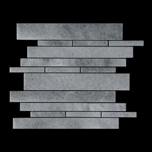 White Crystalline - Offset Linear Mosaic Dk109 Polished