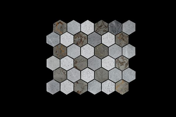 White C & Imperial Grey Hexagonal Mosaic DK003 Honed