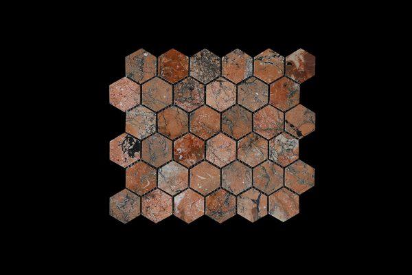 Mega Red Hexagonal Mosaic DK003 POLISHED