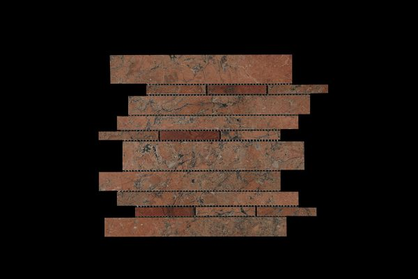 Mega Red Offset Linear Mosaic DK 109 Polished
