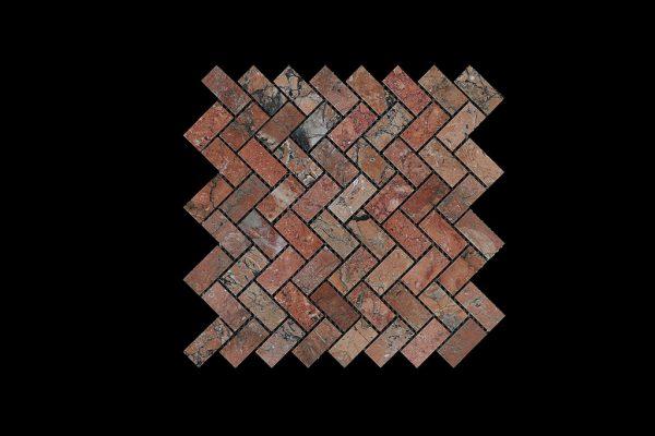 Mega Red Wave Mosaic DK 002 POLISHED