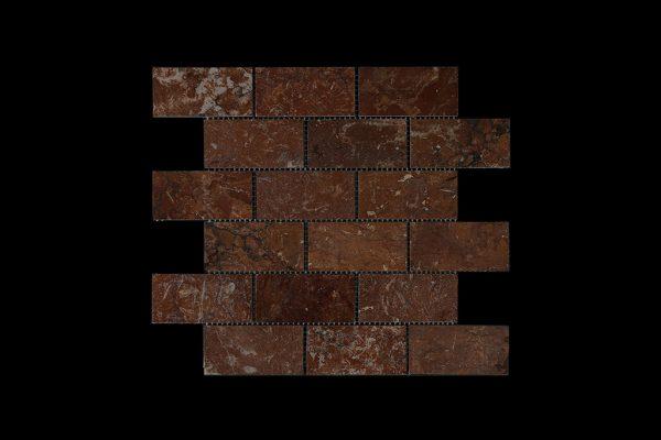 Rosso Chocolate Dark -  Brick Mosaic DK014 POLISHED