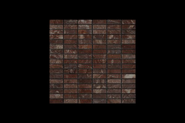 Rosso Chocolate  Dark - Nimbus  Small Linear Mosaic DK 598 POLISHED