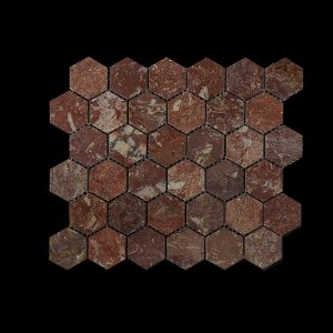 Rosso Chocolate Hexagonal Mosaic DK003 POLISHED