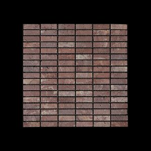 Rosso Chocolate Nimbus - Small Linear Mosaic DK598 TUMBLED