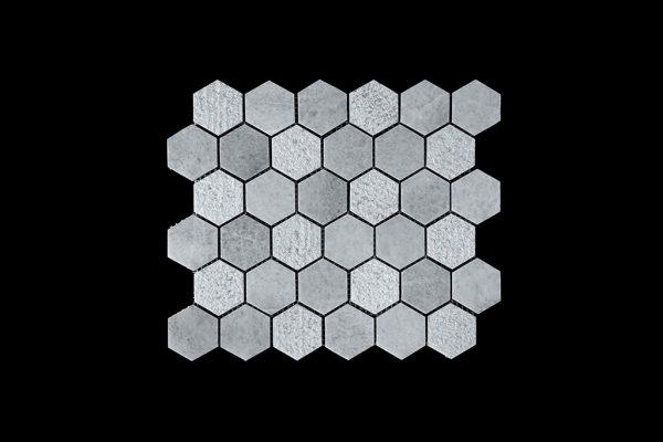 White C - Hexagonal - DK003 POL + BUSH HAMMER