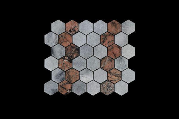White C & Mega R - Hexagonal Mosaic DK003 Polished