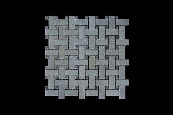 White Crystalline Basket Weave dot Grey Mosaic DK021 Honed