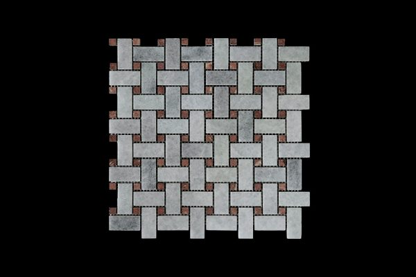 White Crystalline Basket Weave dot Red Marble Mosaic DK021 Polished