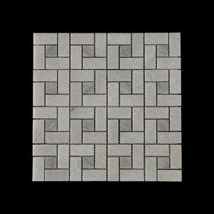 White Crystalline Block Weave Mosaic DK 006 Dot Abu
