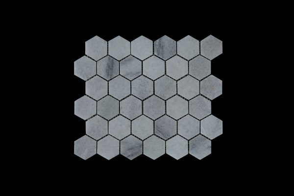 White Crystalline Hexagonal Mosaic DK003 Honed